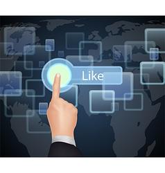 Hand Choose Like on virtual screen vector image