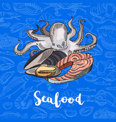 hand drawn colored seafood elements vector image