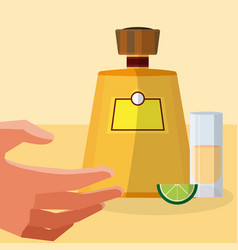 hand grabbing tequila shot vector image