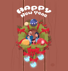happy new year poster with family on christmas vector image