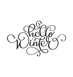 Hello winter handlettering inscription christmas vector