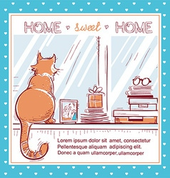 Home sweet home cardWindowsill with home love vector image
