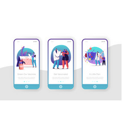 Human vaccination mobile app page onboard screen vector