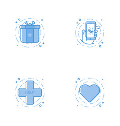 Icons with prize phone in hand heart help cross vector