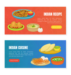 indian cuisine and recipes landing page templates vector image