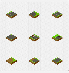 Isometric way set of incomplete driveway vector