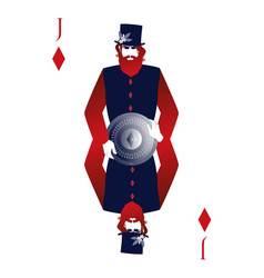 jack of diamonds with a top hat holding a shield vector image