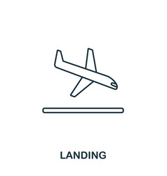 landing icon outline thin line style from airport vector image