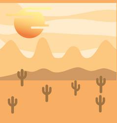 landscape desert cactus and sun vector image