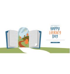 literacy day open book door web template concept vector image
