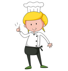 little chef cartoon character isolated vector image
