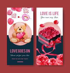 Love flyer design with donut rose bear watercolor vector