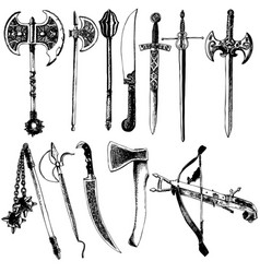 medieval weapons set vector image