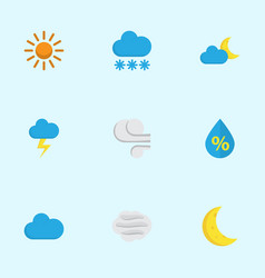 meteorology flat icons set collection of sun the vector image