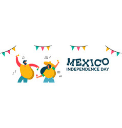 Mexico independence day banner of fun friend party vector