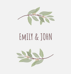 minimal hand drawn eucalyptus wreath frame vector image