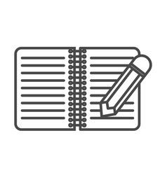 Notebook with pencil linear icon vector