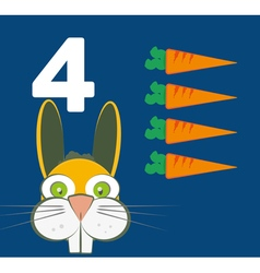 Number 4 - Rabbit with four carrots vector image