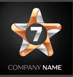 Number seven logo symbol in the colorful star on vector