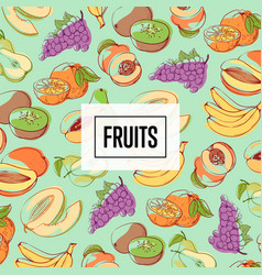 organic fresh and juicy fruits poster vector image