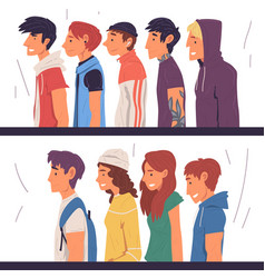 people different subcultures set side view vector image