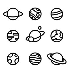 Planets linear icons isolated universe concept vector