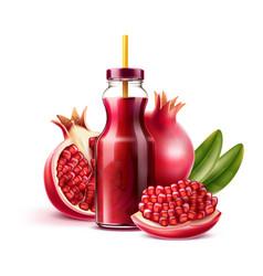 realistic pomegranate juice bottle a fruits vector image