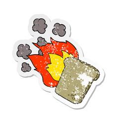 Retro distressed sticker a cartoon burnt toast vector