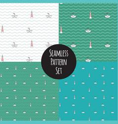 Seamless marine pattern set vector