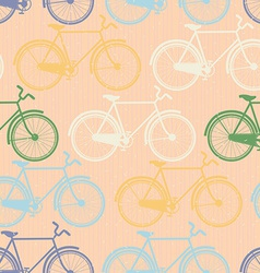 Seamless pattern of colorful bicycles Flat style vector
