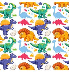 Seamless pattern with cute dinosaurs on white vector