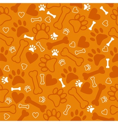 Seamless pattern with dog paw print bone vector image