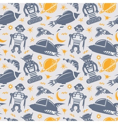 seamless pattern with robots spaceships and planet vector image