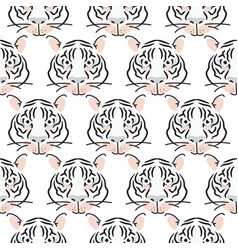 Seamless pattern with tiger heads fashion vector