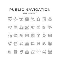 Set line icons public navigation vector