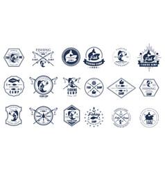 set of vintage fishing camp logo or vector image