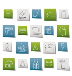 shop and foods icons vector image