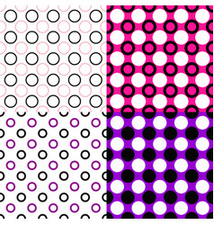 Simple seamless circle pattern background set vector