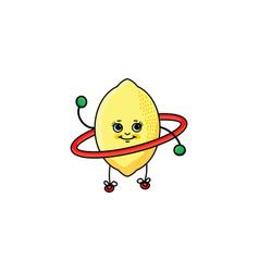 Sketch lemon exercising with hoola hoop vector