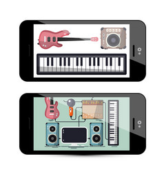 sound and music app with keyboard guitar and vector image