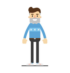 Successful hipster in sweater and pants vector