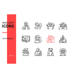 teen problems - line design style icons set vector image
