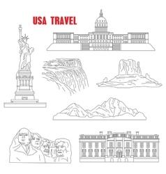 Thin line style USA landmarks vector image