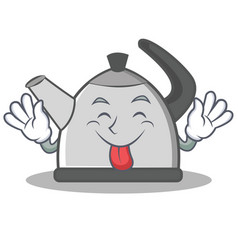 Tongue out kettle character cartoon style vector