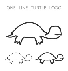 Turtle One Line Logo Minimalism Style Logotype vector