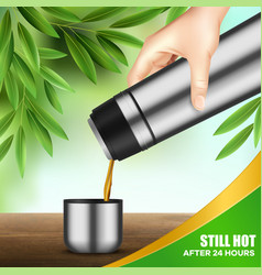 Vacuum flask hand realistic vector