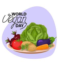 vegetable bowl slices of vegetables flat design vector image