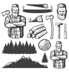 Vintage Lumberjack Emblem Elements vector image