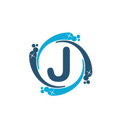 Water clean service abbreviation letter j vector