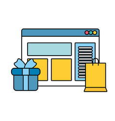 Webpage template with gift and shopping bag vector